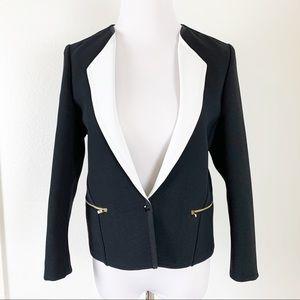 Sandro Paris Blazer Jacket Size 38 Black White